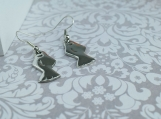 Fish Earrings Hanging from Sterling Silver Hooks