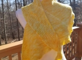 Hand knit asymmetrical shawl