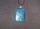 Teal Rectangle Agate Pendant w/Silver Plate or Copper Wire
