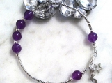 Amethyst Beaded Bracelet for Women Moon and Star Charms Bracelet