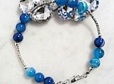 Blue Lace Agate Bracelet, Agate Beaded Bracelet, Agate Stone