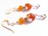 Carnelian Gemstone Sterling Silver Earrings, Stone Beads