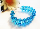 Crystal Woven Beaded Bracelet, Capri Blue Statement Bracelet