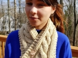 Hand knit cable stitch cowl with cute kitty pin closure.