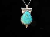 High Grade Indian Mountain Turquoise and Sterling Silver Pendant