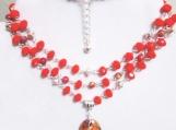 Jasper Gemstone Necklace, Orange Crystal Necklace, Shell Pendant