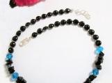 Midnight Blue Goldstone, Black Onyx Necklace, Jewelry on Sale