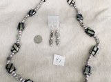 Black.Silver and Light Purple Necklace & Earring set
