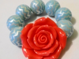 Child's Coral and Blue Chunky Flower Bracelet
