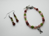 Coral, Green and Brown Hope Beaded Bracelet and Earring Set