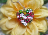 Flower heart polymer clay key chain