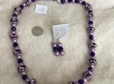 Navy Blue & Purple Necklace & Earring Set