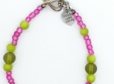 Pink and lime beaded bracelet