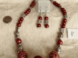 Red/Silver Plated Accents Necklace  & Pierced Earring Set