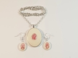 Rhodochrosite stone Necklace and earrings set