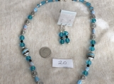 Teal & Silver Necklace and Earring Set