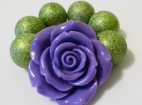 Toddler's  Chunky Purple Flower Bracelet