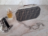 Crystal Evening Box Clutch Purse FENDI monogram canvas upcycle
