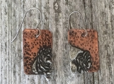 Two-Toned Stamped Earrings- Square