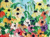 Wildflowers II - 8x8 colorful flowers signed giclee by Aja