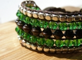 Meadow Cuff, Hand Beaded Cuff, Beaded Bracelet, Glass, Wood, Metal, Green, Handmade, Vegan, Colorful, Bead Weaving, Birthday Gift, Vacation