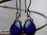 Royal Earrings, Colbalt Blue, Smooth Teardrop Earrings, Glass, Hand Forged Earwires, Handmade, Elegant, Regal, Gifts for Her, Wife Gift