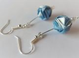 Blue & White Origami Ball Earrings