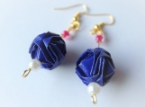 Dark Blue Origami Ball Earrings