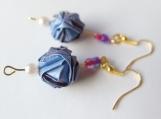 Light Blue & Light purple Origami Ball  Earrings