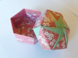 Origami Box - Red with White Flowers /  Light Green
