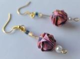 Pink Flowers Origami Ball Earrings