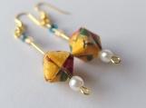 Yellow Brocade Origami Cube Earrings