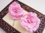Chiffon Flower Hair Pins in Blushing Princess Pink