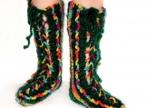 Multicolor Chenille 'n Mohair Wool Tube Slipper Socks