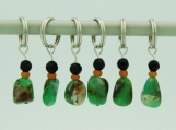 Faceted Black Onyx and Green Gemstone Stitch Marker - Set of 6