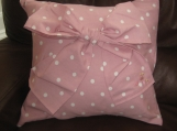 Beautiful Pink and white polka dot cushion
