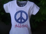 Personalized Patriotic Peace Sign Shirt - Custom Made Sizes 3 mos-Youth 12