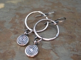 Fine Silver Spiral Hoop Earrings Handmade