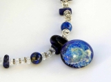 "Lapis, Quartz, Lampwork and Sterling Silver ""Universe"" Necklace"