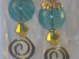 Venetian Nights Blue Swirled Glass Earrings