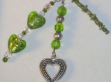 Purse Charm with Green and Gold Glass Hearts