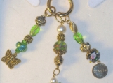 Purse Charm with Green Lampwork and Gold Butterfly Charm