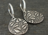 Fine Silver Ivy Textured Earrings