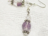 Sterling Silver Frosted Lavender Glass Earrings
