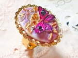 Butterfly Dream Hand Painted Butterfly Crystal Ring