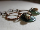 Antique Copper Hoop & Green Earrings