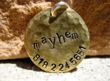 The Mayhem - Distressed Handstamped Pet ID Tag Brass Small Dog