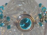 Aqua and Clear Crystal Silver Watch