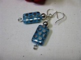 Blue & Silver Czech Glass Earrings