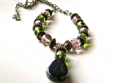 Purple & Green Necklace with a Vintage Flare